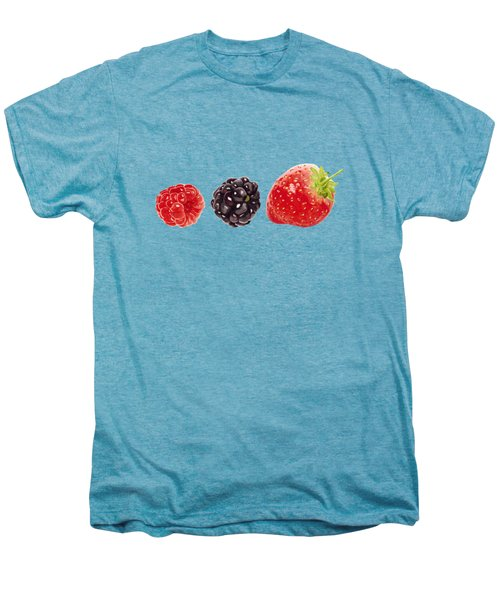 Raspberry, Blackberry And Strawberry In Watercolor Men's Premium T-Shirt