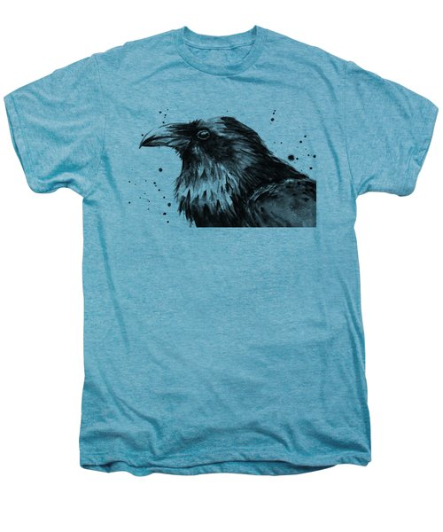 Raven Watercolor Portrait Men's Premium T-Shirt by Olga Shvartsur