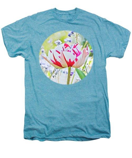 Red And White Tulip Men's Premium T-Shirt by Terri Waters