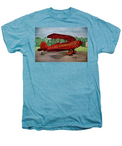 Red Biplane Men's Premium T-Shirt by Megan Cohen