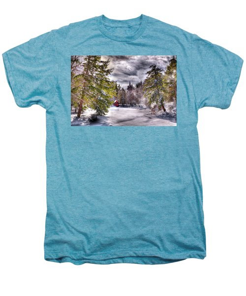 Men's Premium T-Shirt featuring the photograph Red Boathouse After The Storm by David Patterson