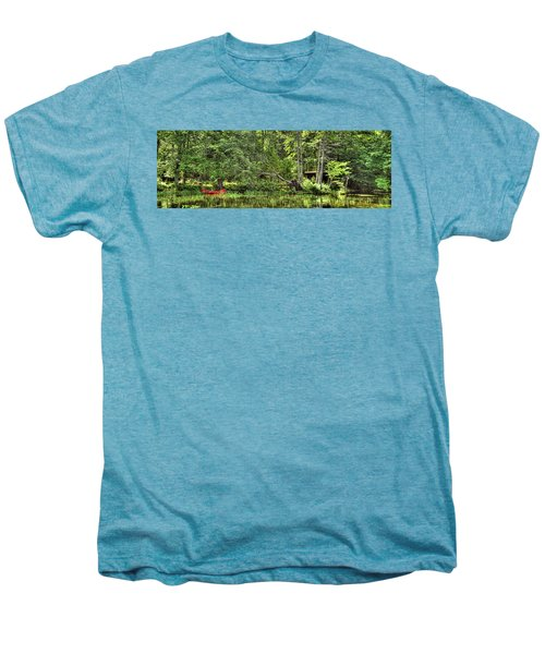 Men's Premium T-Shirt featuring the photograph Red Canoe Panorama by David Patterson