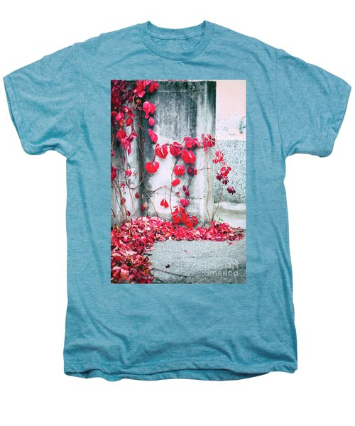 Men's Premium T-Shirt featuring the photograph Red Ivy Leaves by Silvia Ganora