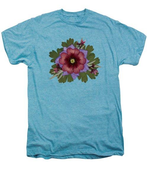 Red Open Faced Potentilla Pressed Flower Arrangement Men's Premium T-Shirt