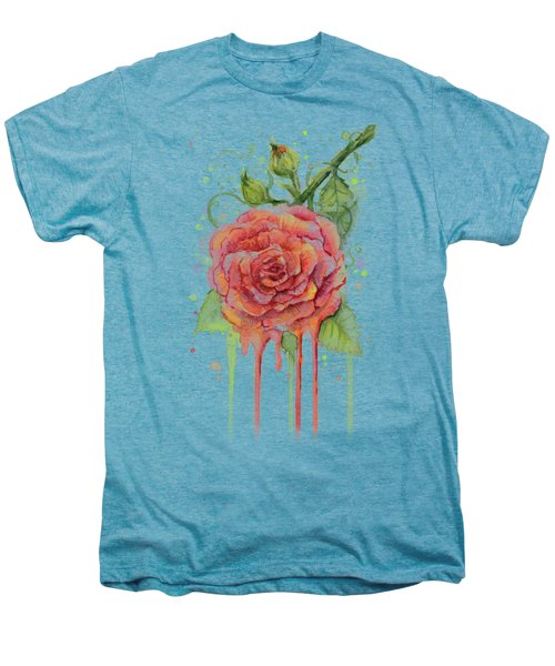 Red Rose Dripping Watercolor  Men's Premium T-Shirt by Olga Shvartsur