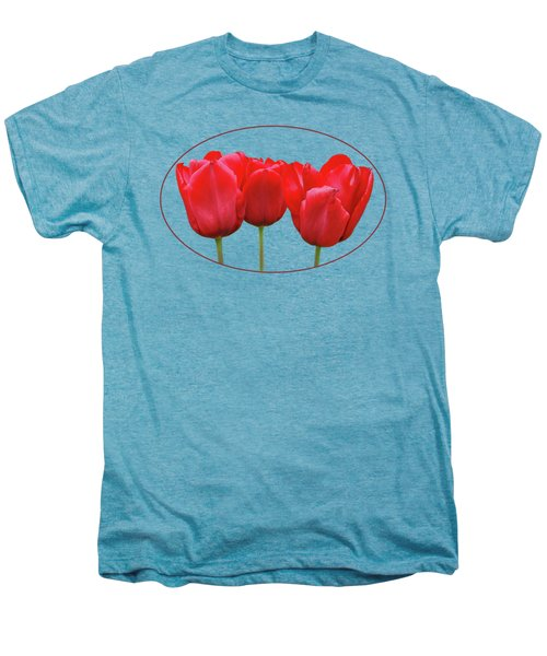 Red Tulip Triple On White Men's Premium T-Shirt