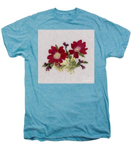 Red Verbena Pressed Flower Arrangement Men's Premium T-Shirt