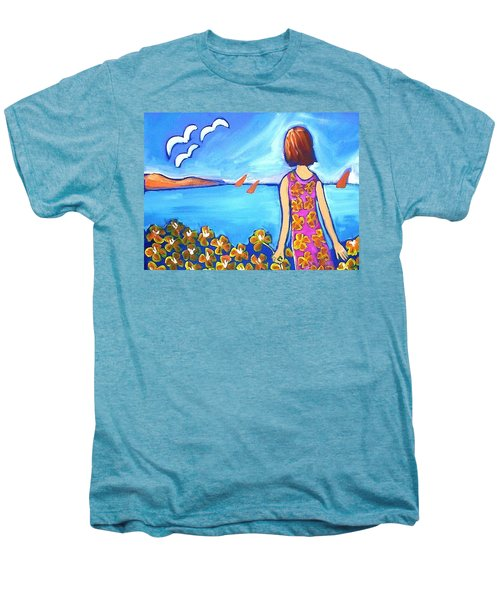 Men's Premium T-Shirt featuring the painting Remembering Joy by Winsome Gunning