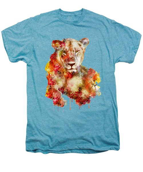 Resting Lioness In Watercolor Men's Premium T-Shirt by Marian Voicu