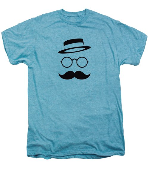 Retro Minimal Vintage Face With Moustache And Glasses Men's Premium T-Shirt