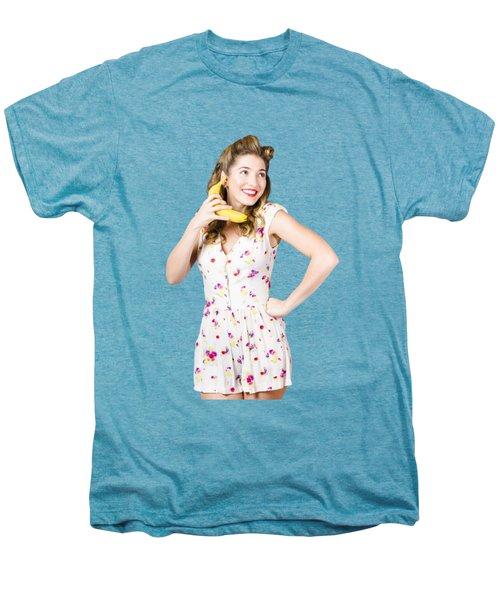 Retro Pin Up Girl Chatting On Banana Telephone Men's Premium T-Shirt by Jorgo Photography - Wall Art Gallery
