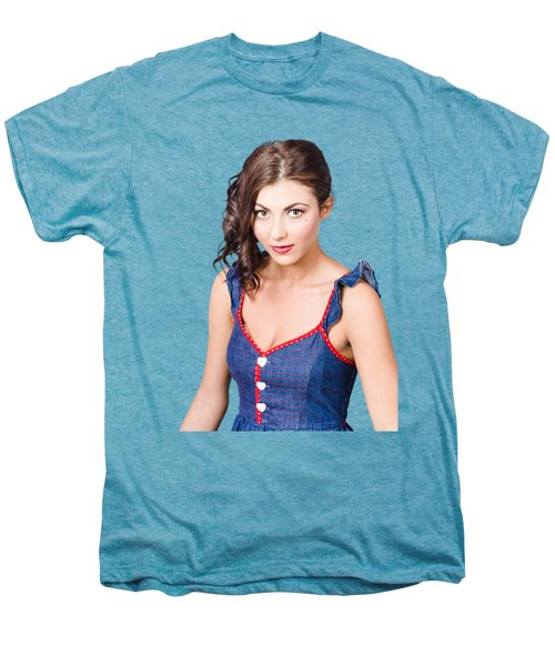 Retro Pin-up Girl In Blue Denim Dress Men's Premium T-Shirt