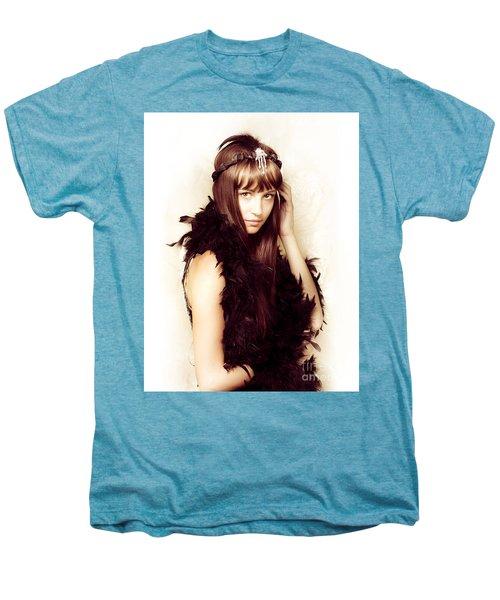 Retro Showgirl In Feather Boa Men's Premium T-Shirt