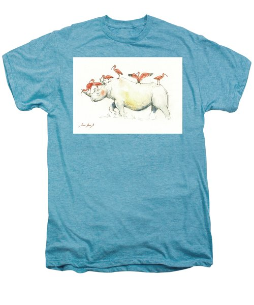 Rhino And Ibis Men's Premium T-Shirt by Juan Bosco