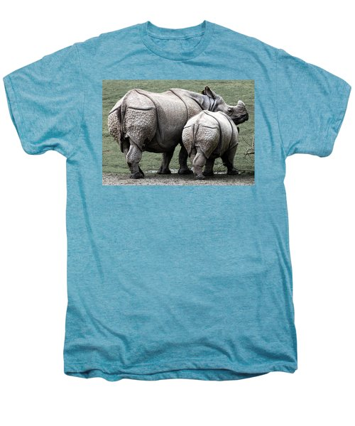 Rhinoceros Mother And Calf In Wild Men's Premium T-Shirt by Daniel Hagerman