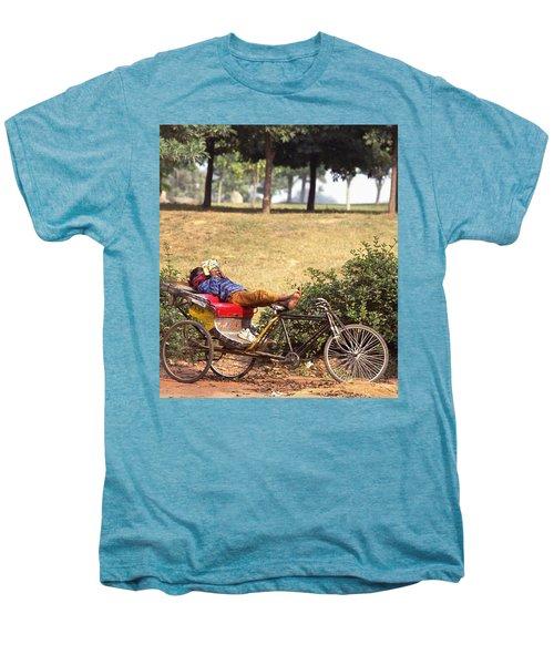 Rickshaw Rider Relaxing Men's Premium T-Shirt by Travel Pics