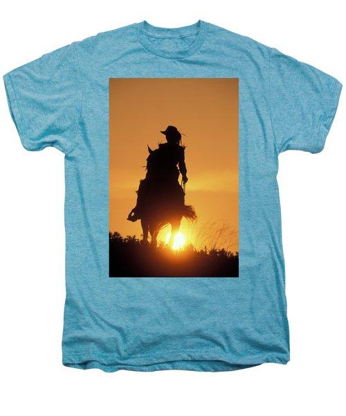 Riding Cowgirl Sunset Men's Premium T-Shirt