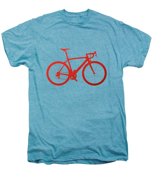 Road Bike Silhouette - Red On White Canvas Men's Premium T-Shirt