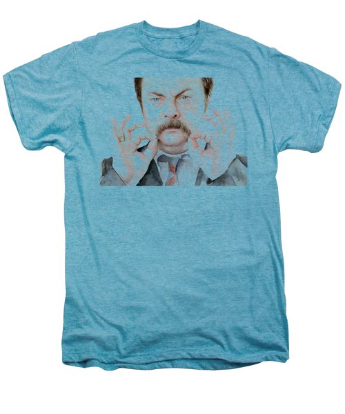 Ron Swanson Mustache Portrait Men's Premium T-Shirt by Olga Shvartsur