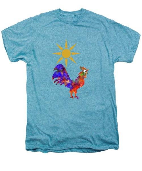 Rooster Pattern Men's Premium T-Shirt by Christina Rollo