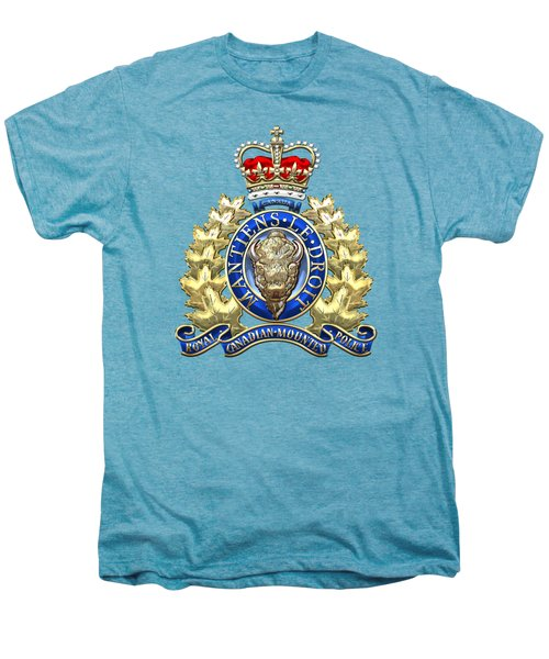 Royal Canadian Mounted Police - Rcmp Badge On White Leather Men's Premium T-Shirt by Serge Averbukh