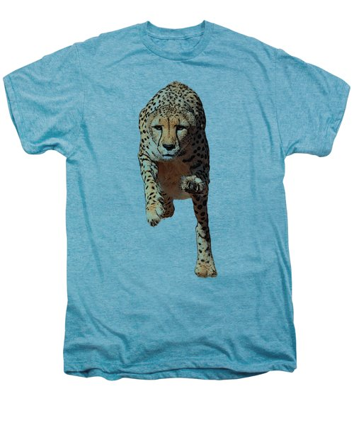 Running Cheetah, Isolated On White Background, Cartoonized Style #2 Men's Premium T-Shirt