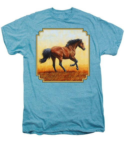 Running Horse - Evening Fire Men's Premium T-Shirt by Crista Forest
