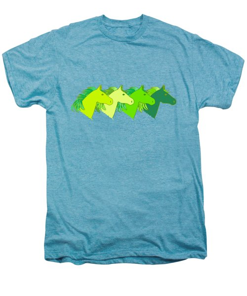 Running Horse Lime Men's Premium T-Shirt by Alexsan