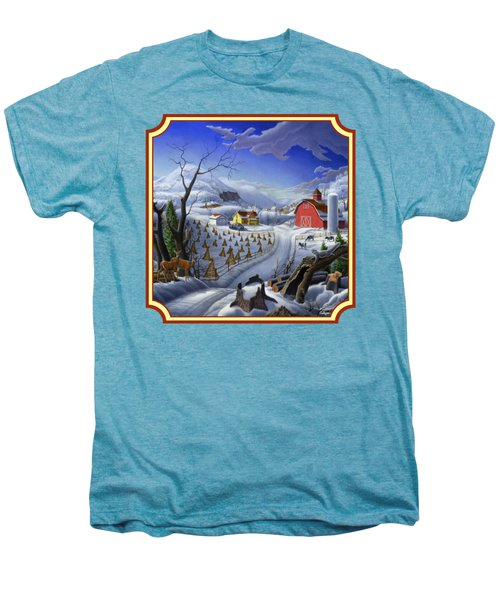 Rural Winter Country Farm Life Landscape - Square Format Men's Premium T-Shirt