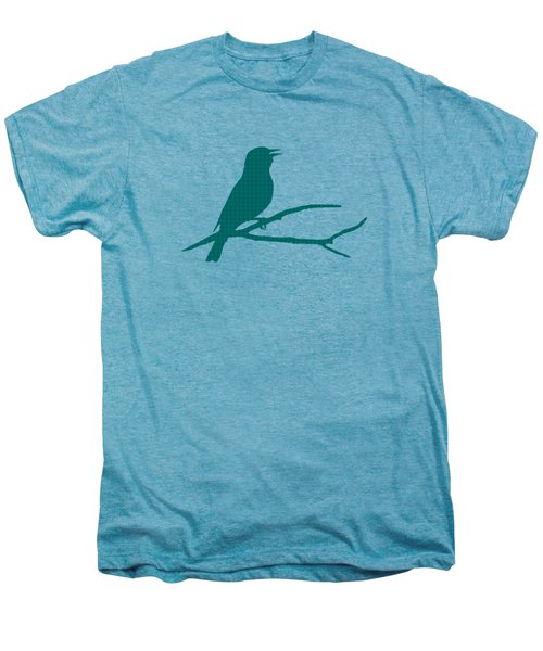 Men's Premium T-Shirt featuring the mixed media Rustic Green Bird Silhouette by Christina Rollo