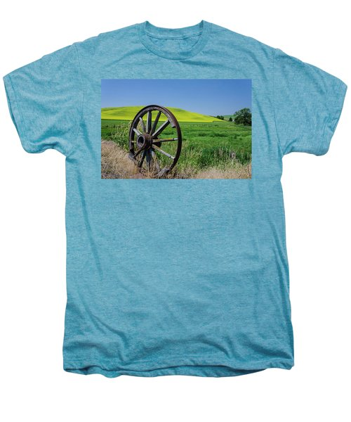 Rustic Wagon Wheel In The Palouse Men's Premium T-Shirt