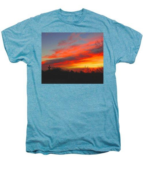 Saguaro Winter Sunrise Men's Premium T-Shirt