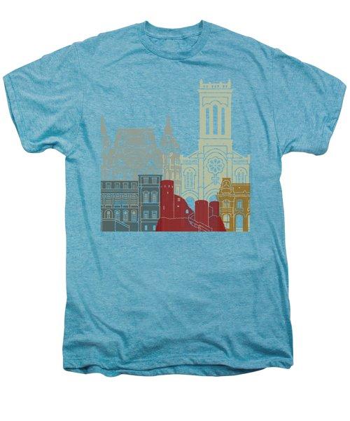 Saint Etienne Skyline Poster Men's Premium T-Shirt by Pablo Romero