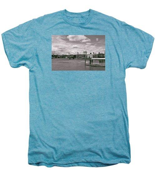 Saint Pauls Cathedral Along The Thames Men's Premium T-Shirt by Nop Briex