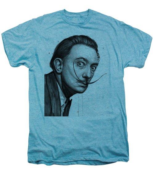 Salvador Dali Portrait Black And White Watercolor Men's Premium T-Shirt