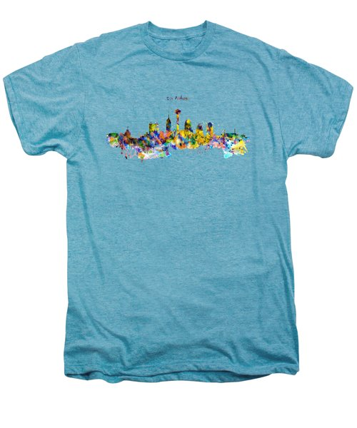 San Antonio Skyline Silhouette Men's Premium T-Shirt by Marian Voicu