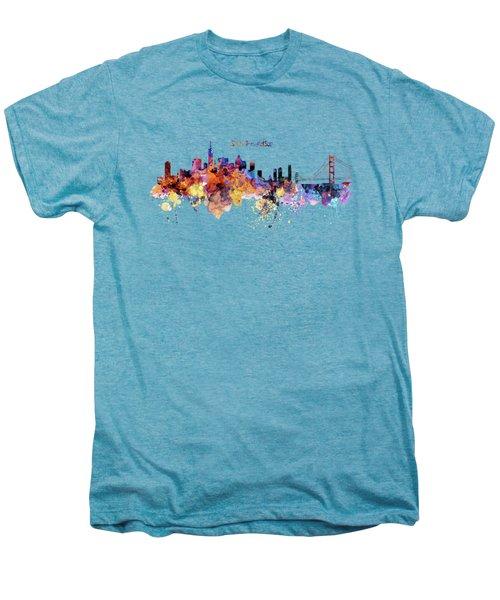 San Francisco Watercolor Skyline Men's Premium T-Shirt by Marian Voicu