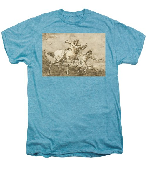 Satyr Leading A Centaur, Who Carries A Club, Bow And Quiver, Outside The Walls Of A City Men's Premium T-Shirt