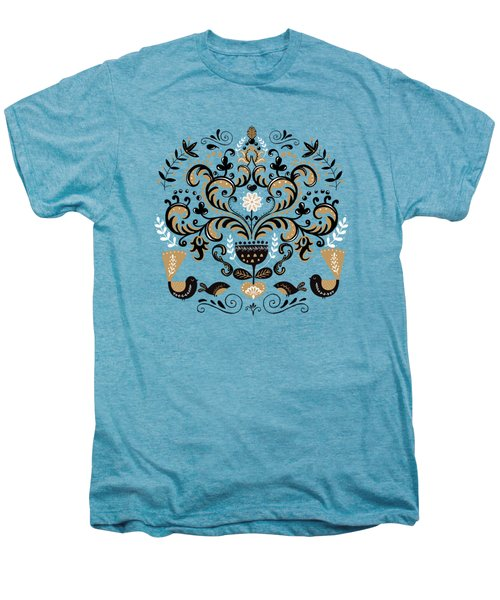 Scandinavian Floral Decoration With Birds Men's Premium T-Shirt