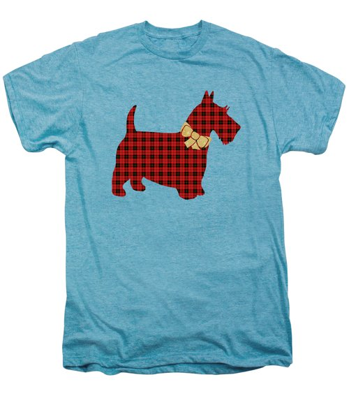 Men's Premium T-Shirt featuring the mixed media Scottie Dog Plaid by Christina Rollo