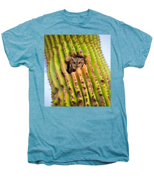 Screech Owl In Saguaro Men's Premium T-Shirt