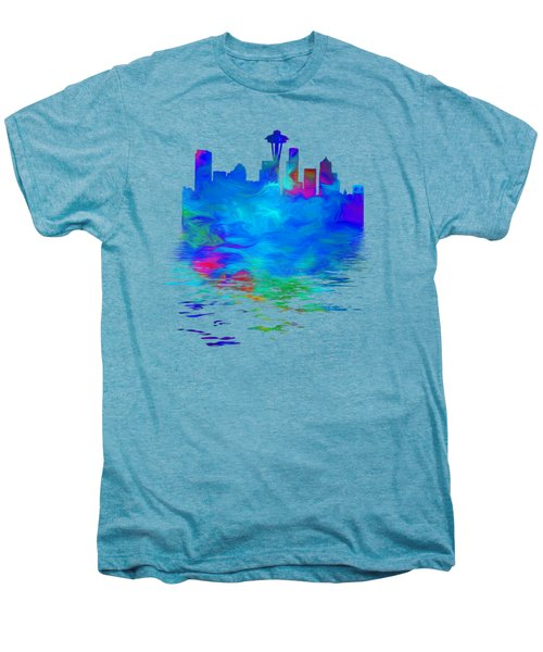 Seattle Skyline, Blue Tones On White Men's Premium T-Shirt by Pamela Saville