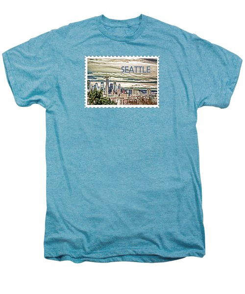 Seattle Skyline In Fog And Rain Text Seattle Men's Premium T-Shirt by Elaine Plesser