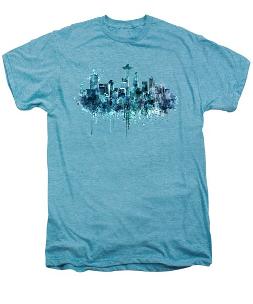 Seattle Skyline Monochrome Watercolor Men's Premium T-Shirt by Marian Voicu