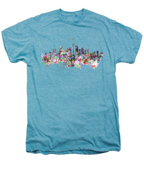 Seattle Skyline Silhouette Men's Premium T-Shirt by Marian Voicu