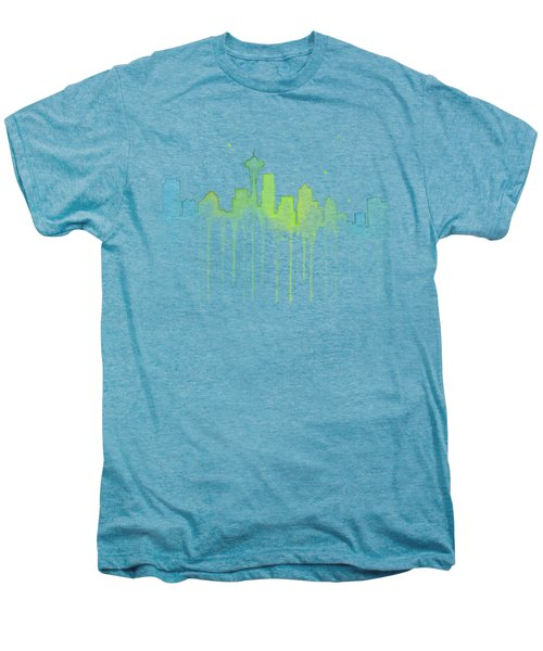 Seattle Skyline Watercolor  Men's Premium T-Shirt by Olga Shvartsur
