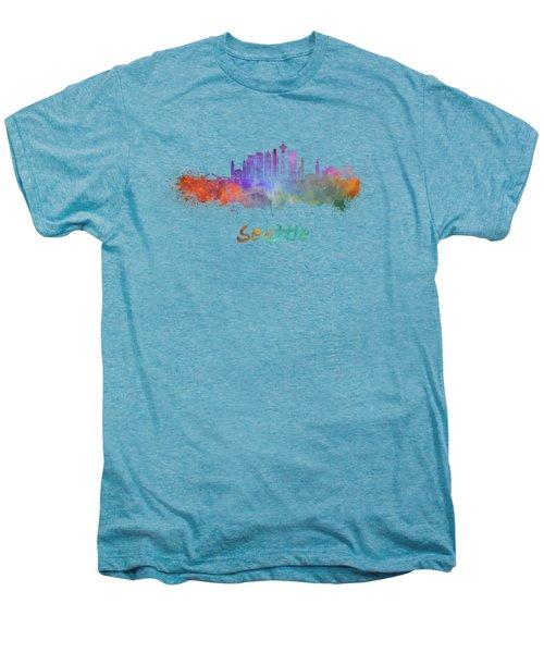 Seattle V2 Skyline In Watercolor Men's Premium T-Shirt