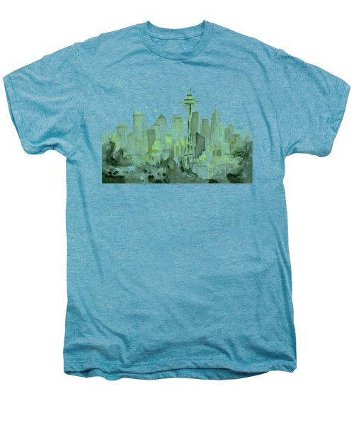 Seattle Watercolor Men's Premium T-Shirt by Olga Shvartsur