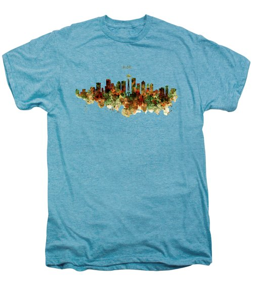 Seattle Watercolor Skyline Poster Men's Premium T-Shirt
