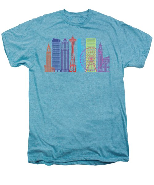 Seattle_v2 Skyline Pop Men's Premium T-Shirt by Pablo Romero